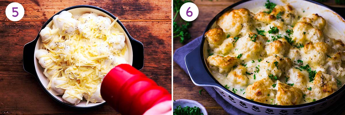 A collage of 2 images showing how to make this cauliflower recipe step by step for instructions 5 and 6.