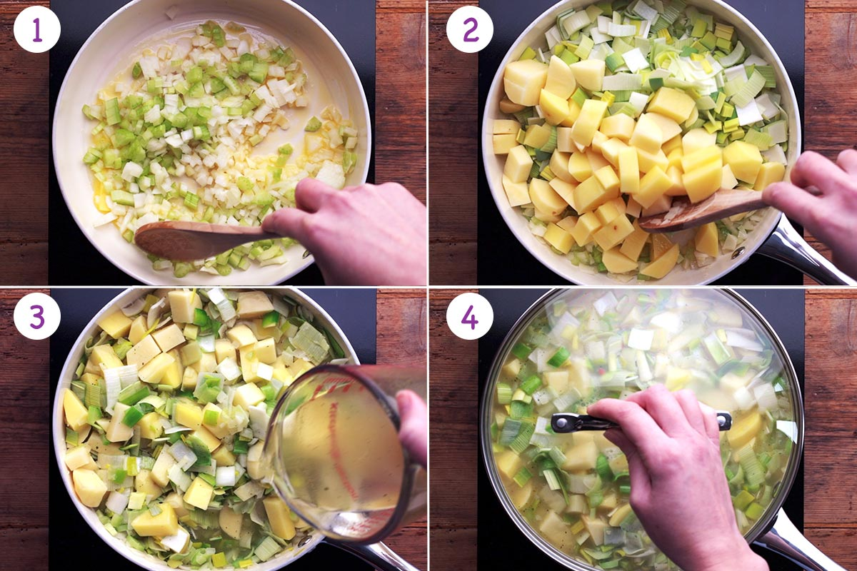Step by step images of how to make leek and potato soup steps 1-4.