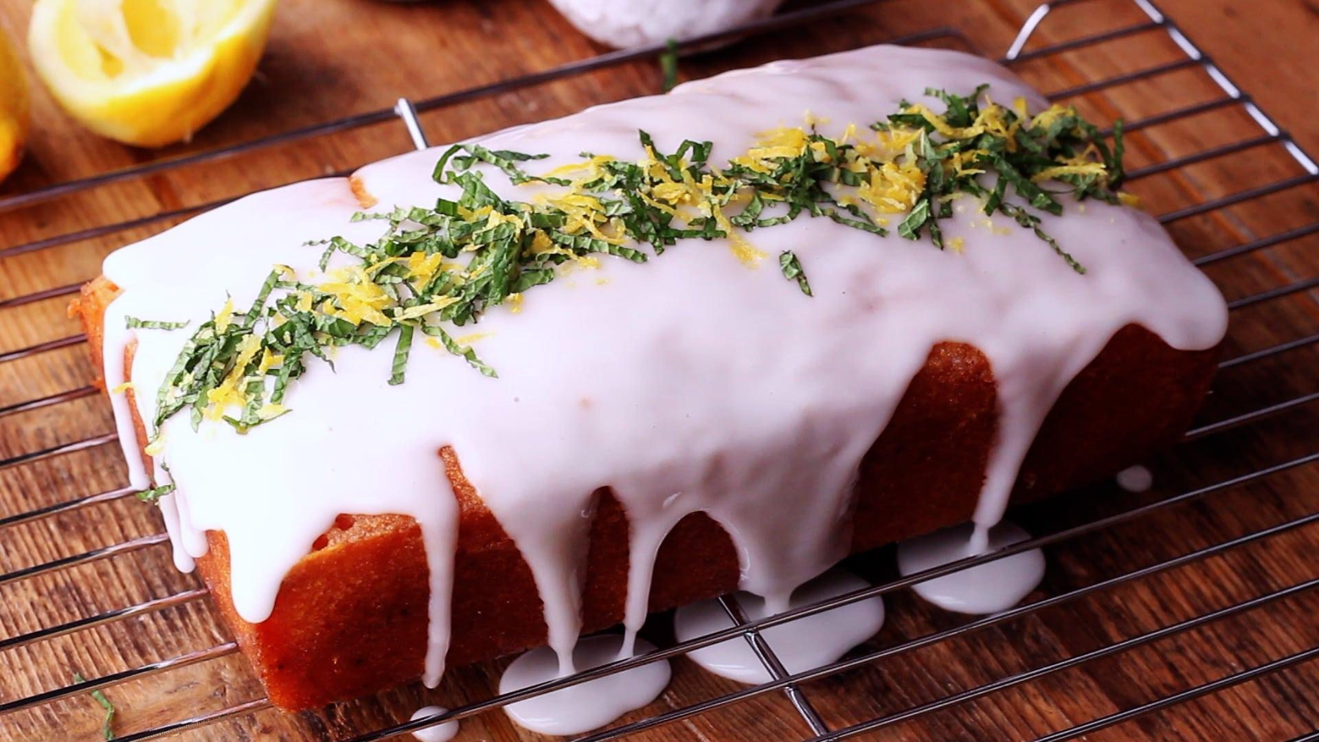 Decorate with lemon icing, fresh mint and lemon zest