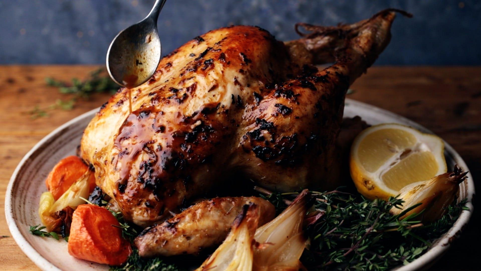 basting roast chicken