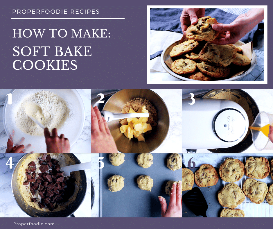 Step by step images for making soft bake chocolate chip cookies