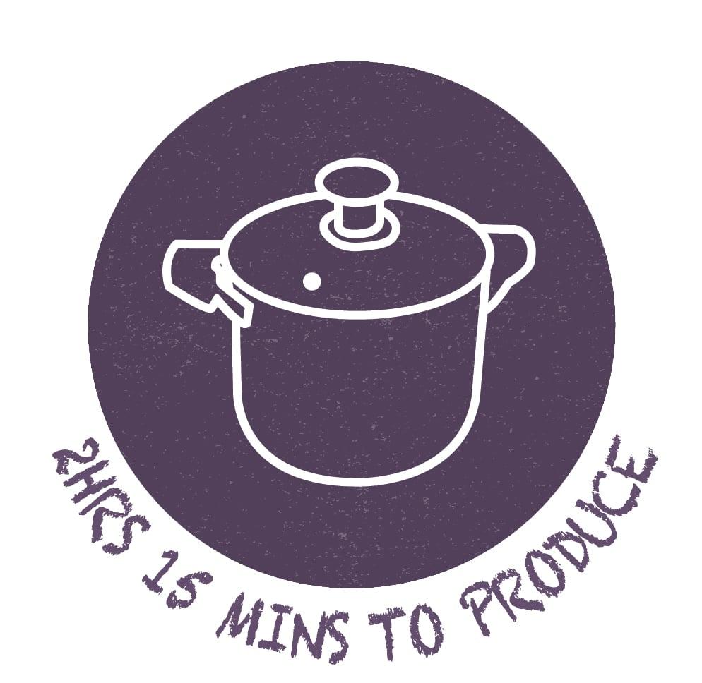 2hr15m to produce recipe