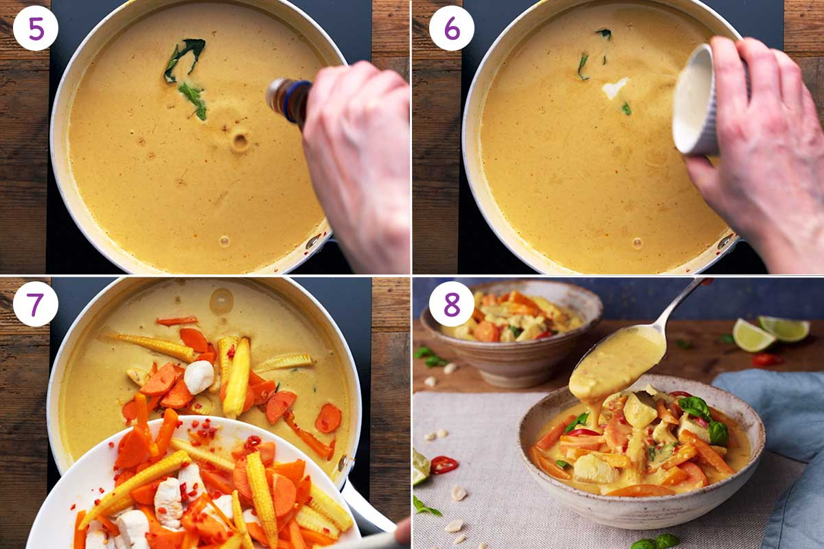 Collage of 4 images showing step by step how to make this this recipe for steps 5-8.