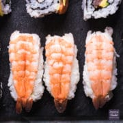 nigiri sushi with butterflied prawns