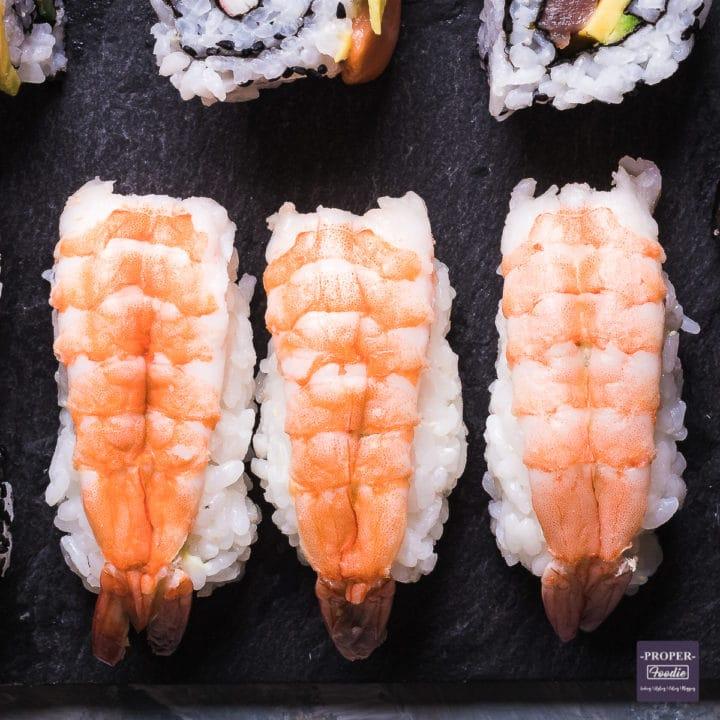 nigiri sushi with butterflied prawns