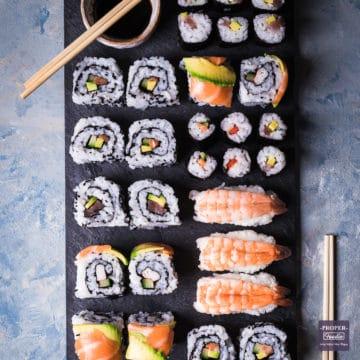 homemade sushi rolls platter