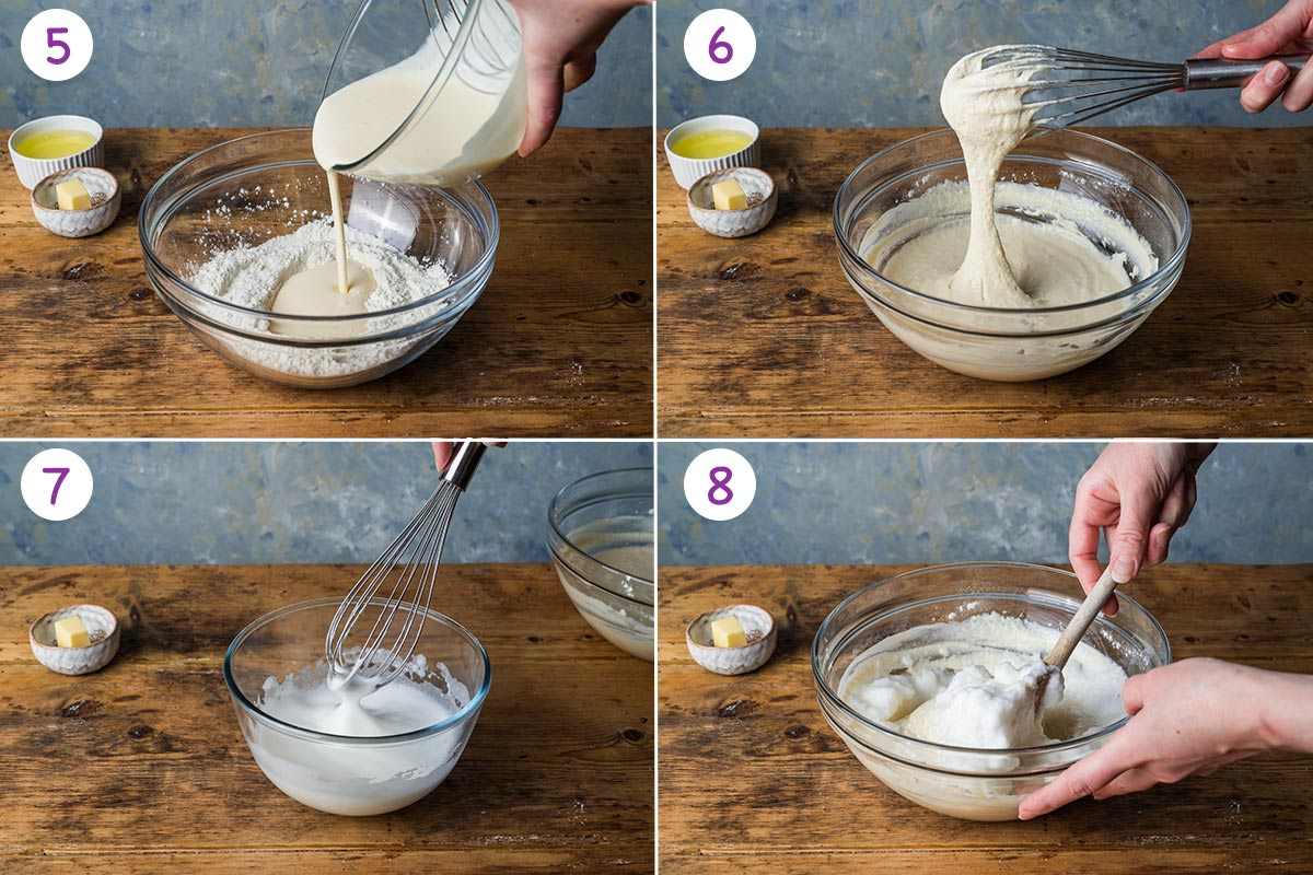 A collage of 4 images showing how to make the pancakes step by step for instructions 5-8.