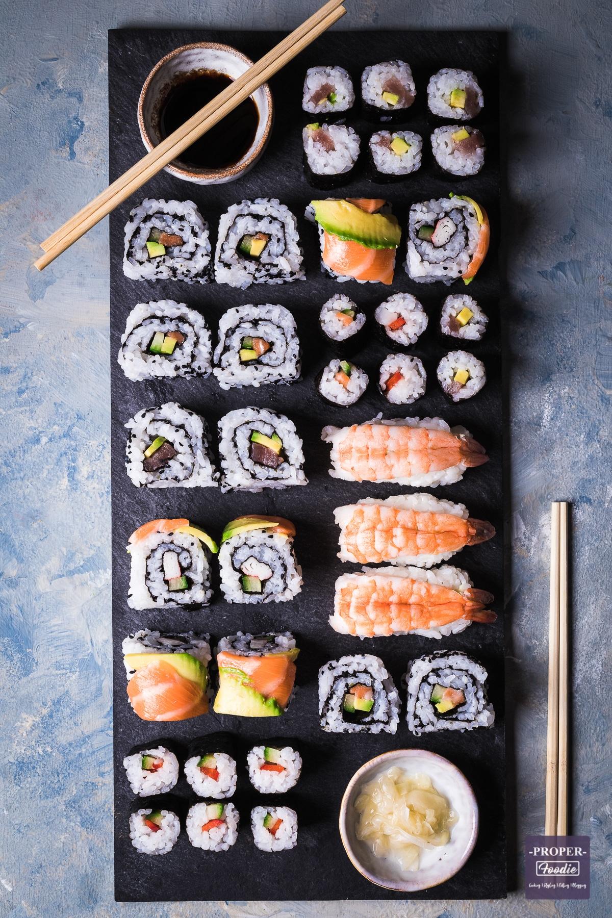Homemade sushi rolls on a platter