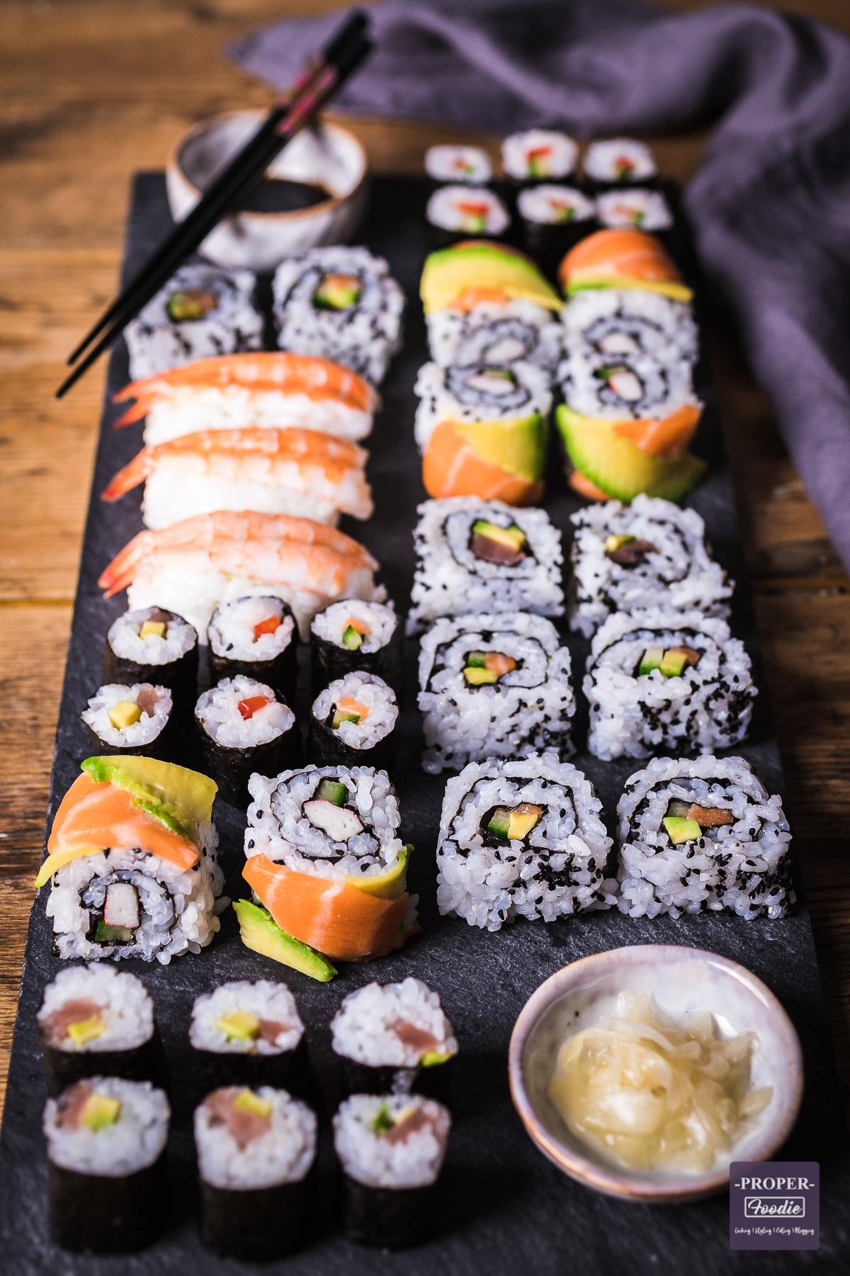 platter of sushi rolls