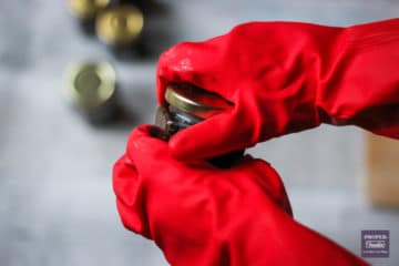 using marigold gloves to tighten lids on chutney jars