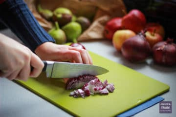 chopping onions with a non slip board