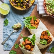 Healthy chicken wraps with homemade guacamole and mixed bean salad
