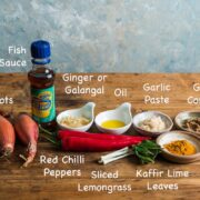 Ingredients needed to make Thai red curry paste.