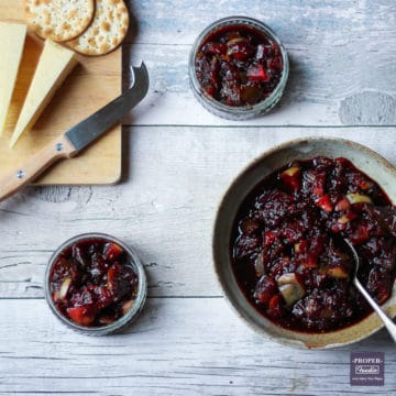 Fig and apple chutney with cheese and biscuits