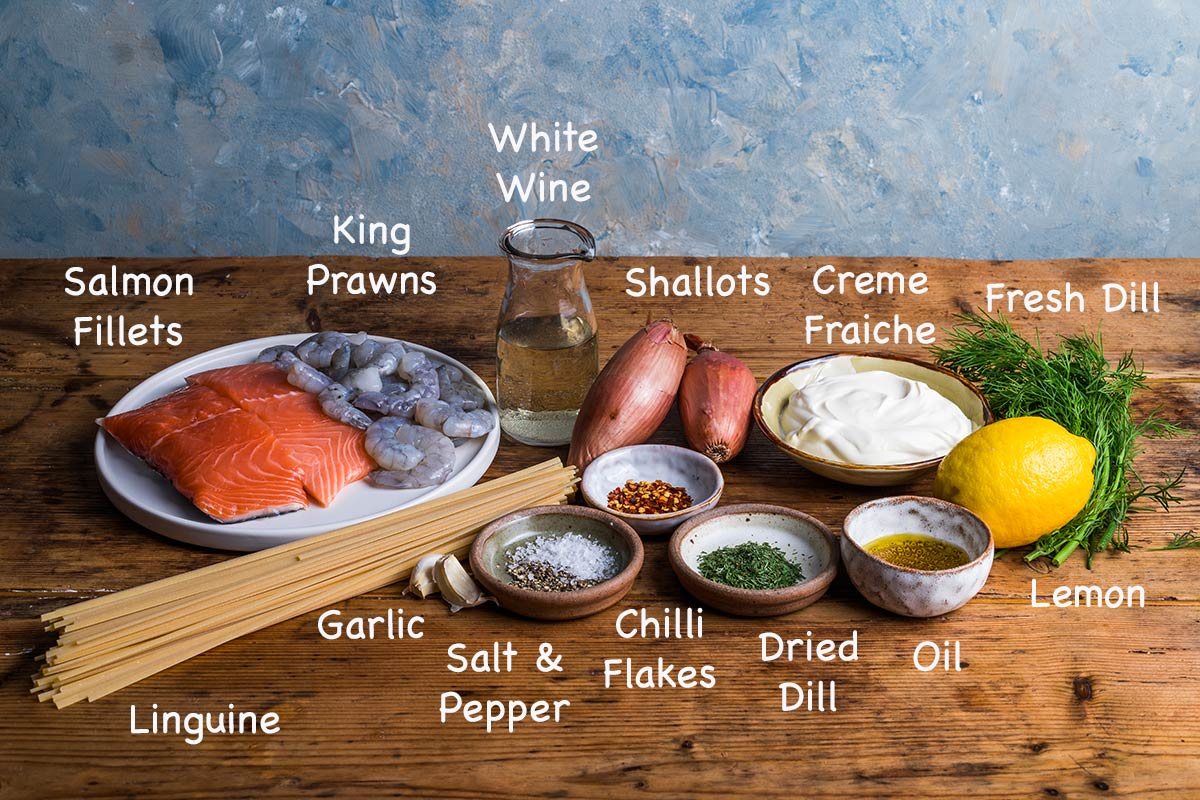 Ingredients needed to make salmon and prawn linguine.