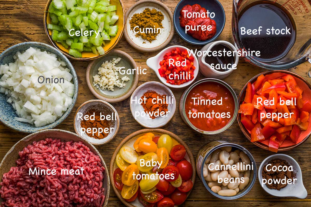 ingredients to make chilli con carne