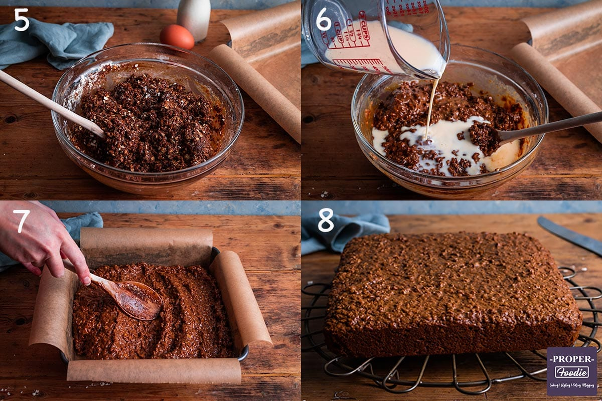 4 images showing step by step instructions. 5. mix wet and dry ingredients, 6, whisk milk and egg and gradually add to cake mix, 7. pour cake mix into tin and smooth evenly, 8. Bake for 1 hour then cool and place on a rack.