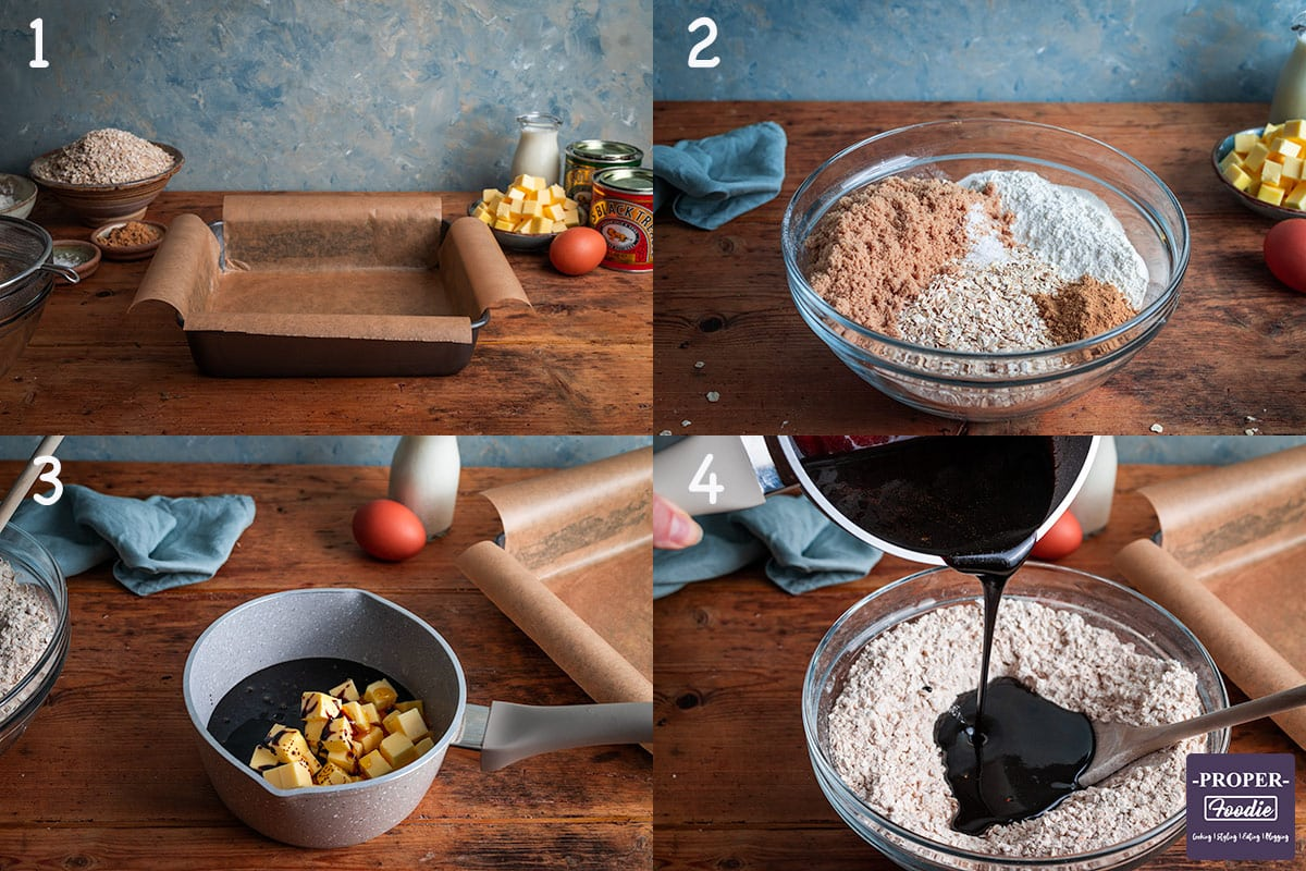 4 images showing step by step instructions. 1. line tin, 2. mix dry ingredients, 3. melt butter, sugar, syrup and treacle in pan, 4. pour melted mix into dry mix