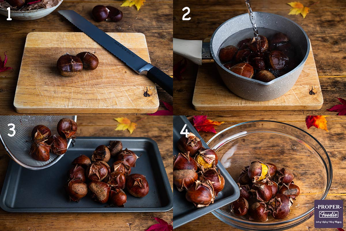 Images of how to roast chestnuts for steps 1-4: 1. slice a cross into the shells, 2. place chestnuts in a pan with boiling water and simmer for 5 minutes, 3. transfer nuts to a tray and roast for 15 minutes, 4. leave to steam in a bowl covered with a towel.