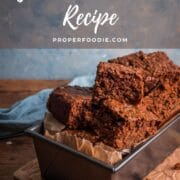 Loaf tin with slices of parkin and a text overlay: Yorkshire Parkin Recipe.
