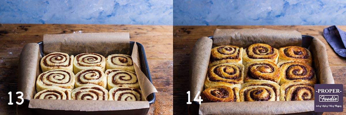 2 images showing steps 13 & 14 for making Cinnamon rolls: 13. Place swirls in baking tin, 14. Bake until golden brown