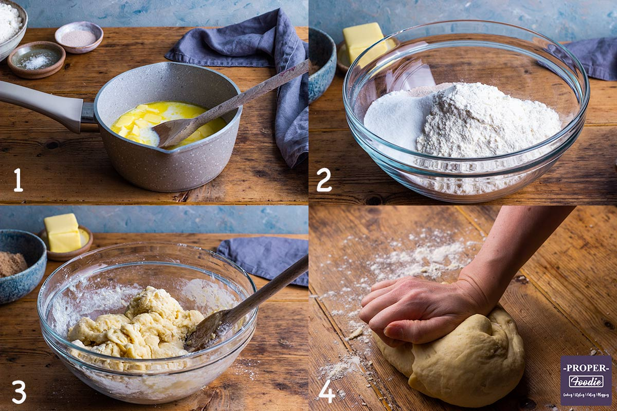 4 images showing steps 1-4 for making Cinnamon rolls: 1. Melt butter into milk in a pan, 2. mix flour, caster sugar, yeast and salt, 3. pour pan mixture into dry ingredients and form a dough, 4. Turn out and knead dough.