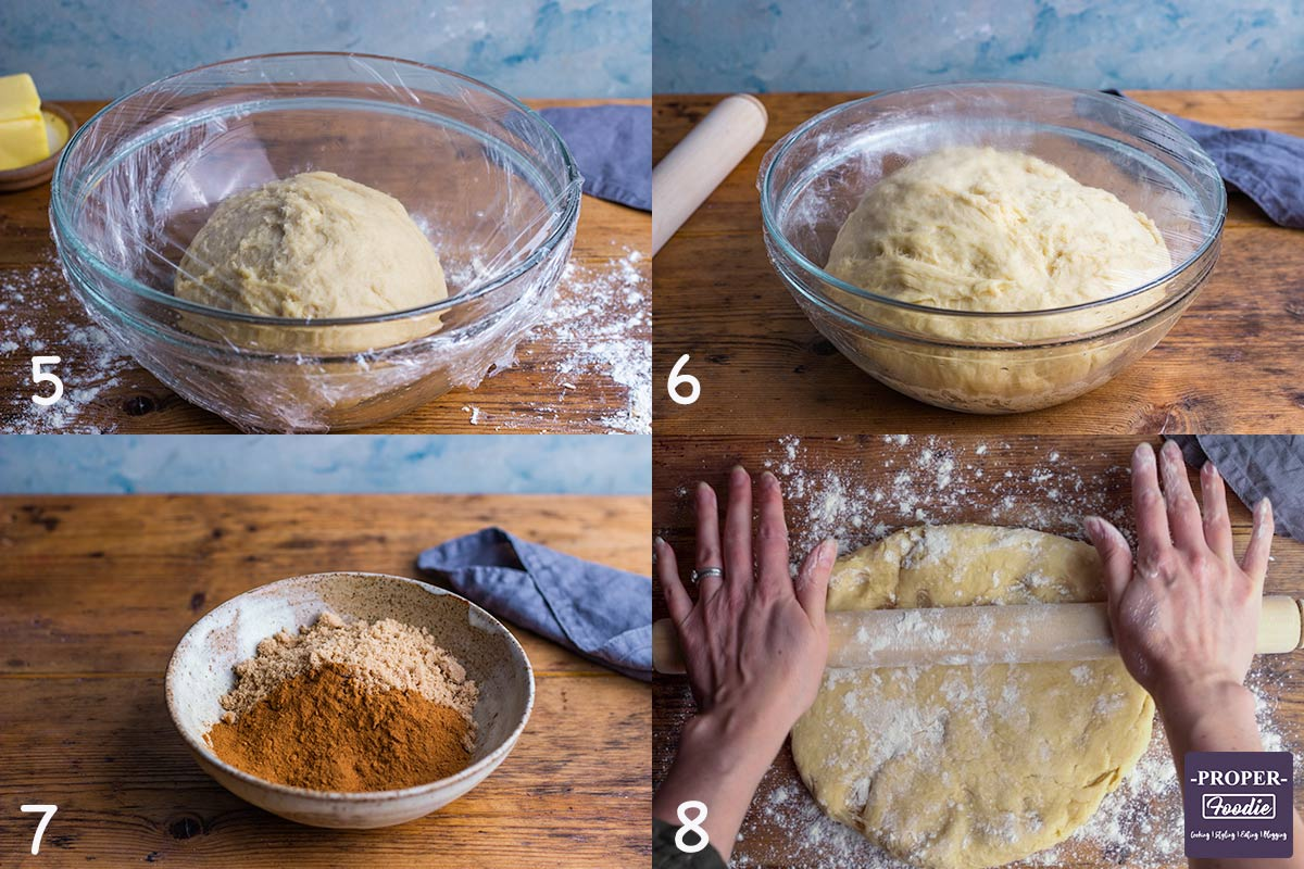 4 images showing steps 5-8 for making Cinnamon rolls: 5. Place dough in oiled bowl and cover, 6. leave to rise to double in size, 7. mix cinnamon and dark brown sugar, 8. roll out dough into rectangle 2-3 mm thick.