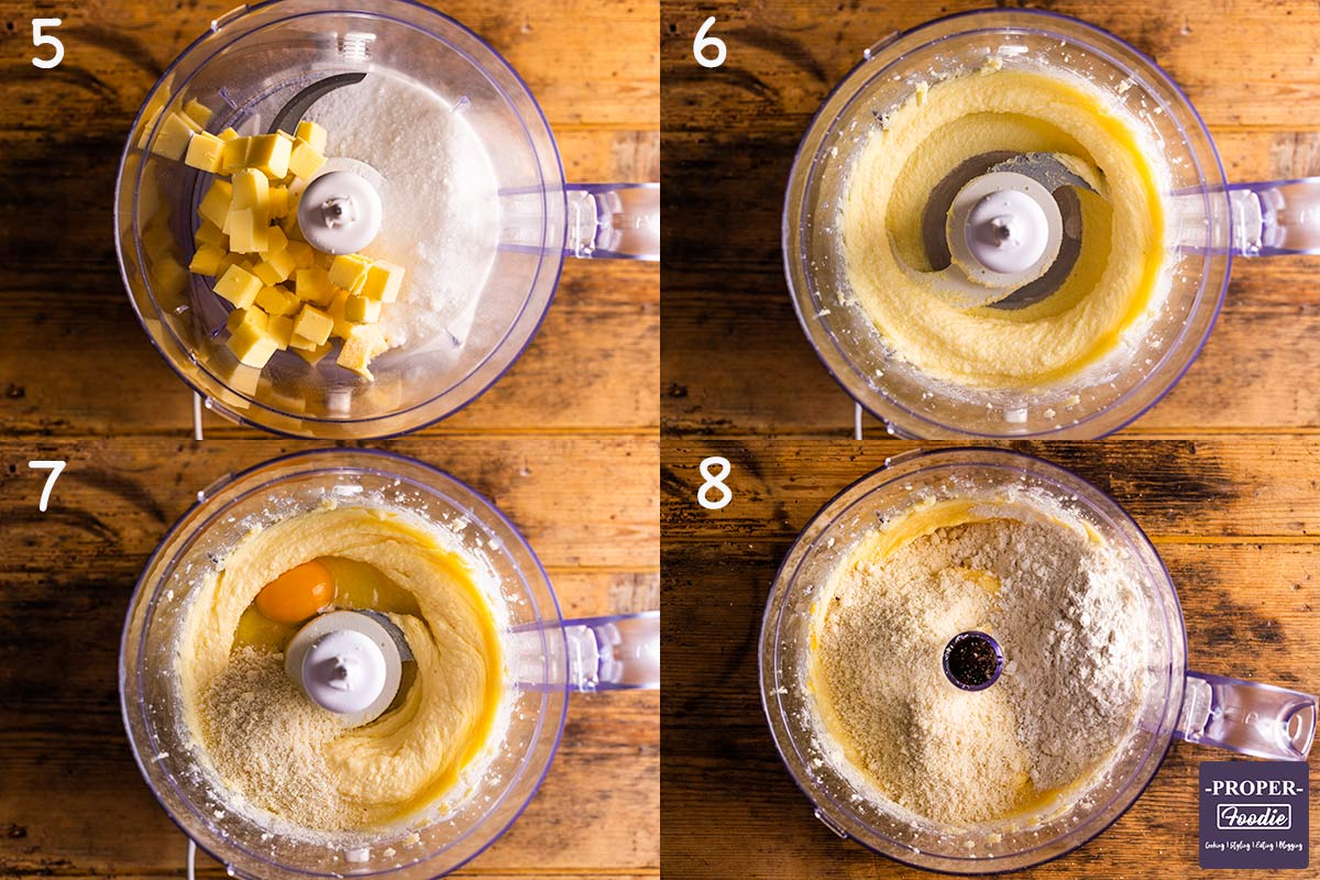 four images showing how to make frangipane for mince pies, steps 5-8..