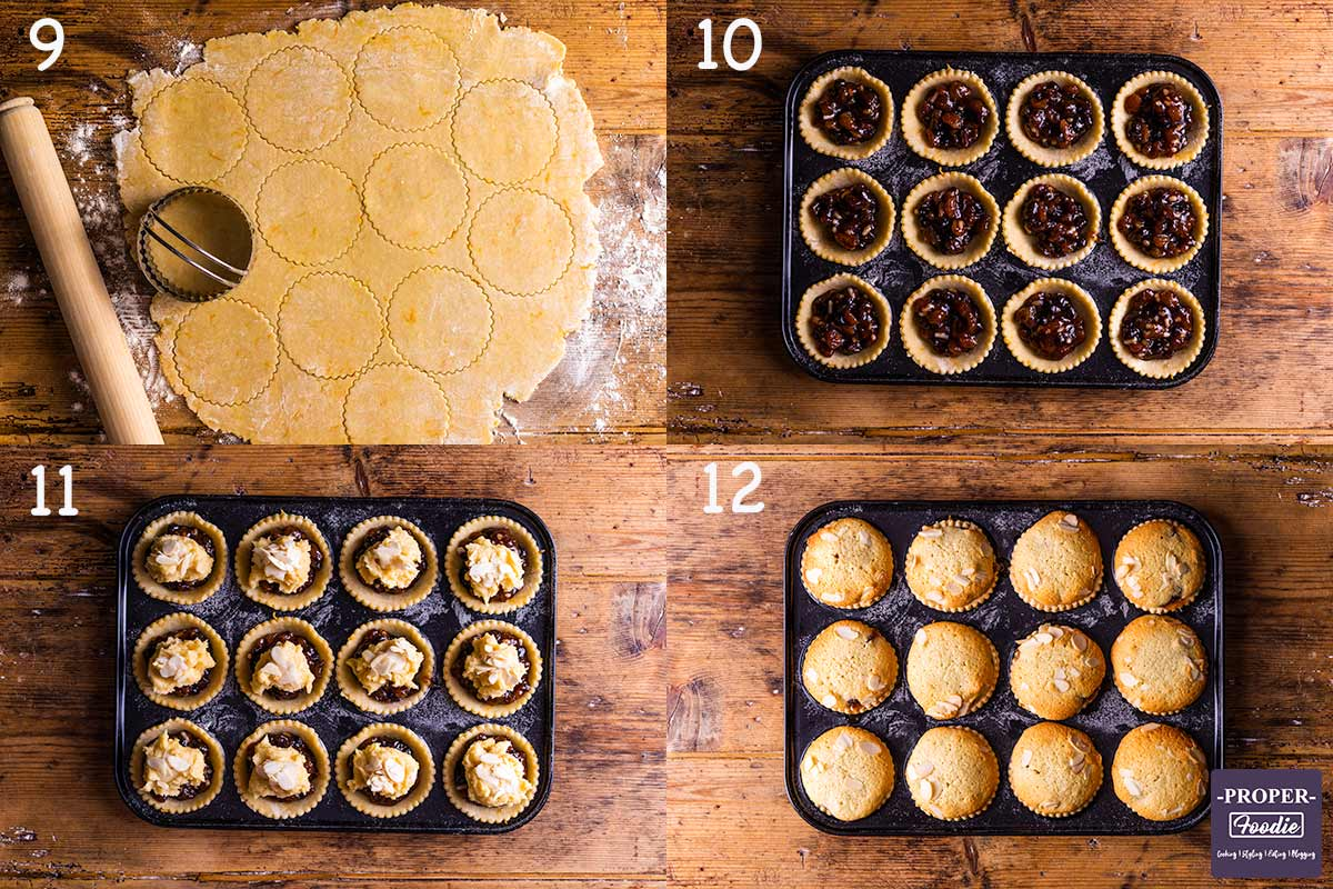 four images showing how to make frangipane mince pies, steps 9-12