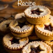 A stack of homemade mince pies with text overlay at top: Easy Mince Pie Recipe