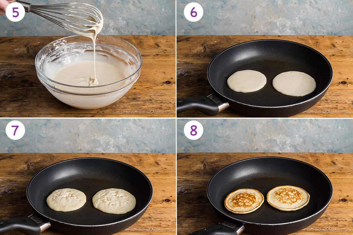 A collage of 4 images showing how to make this recipe step by step for instructions 5-8.