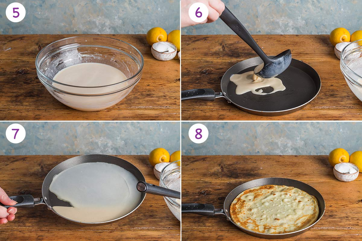 A collage of 4 images showing how to make English pancakes step by step for instructions 5-8.