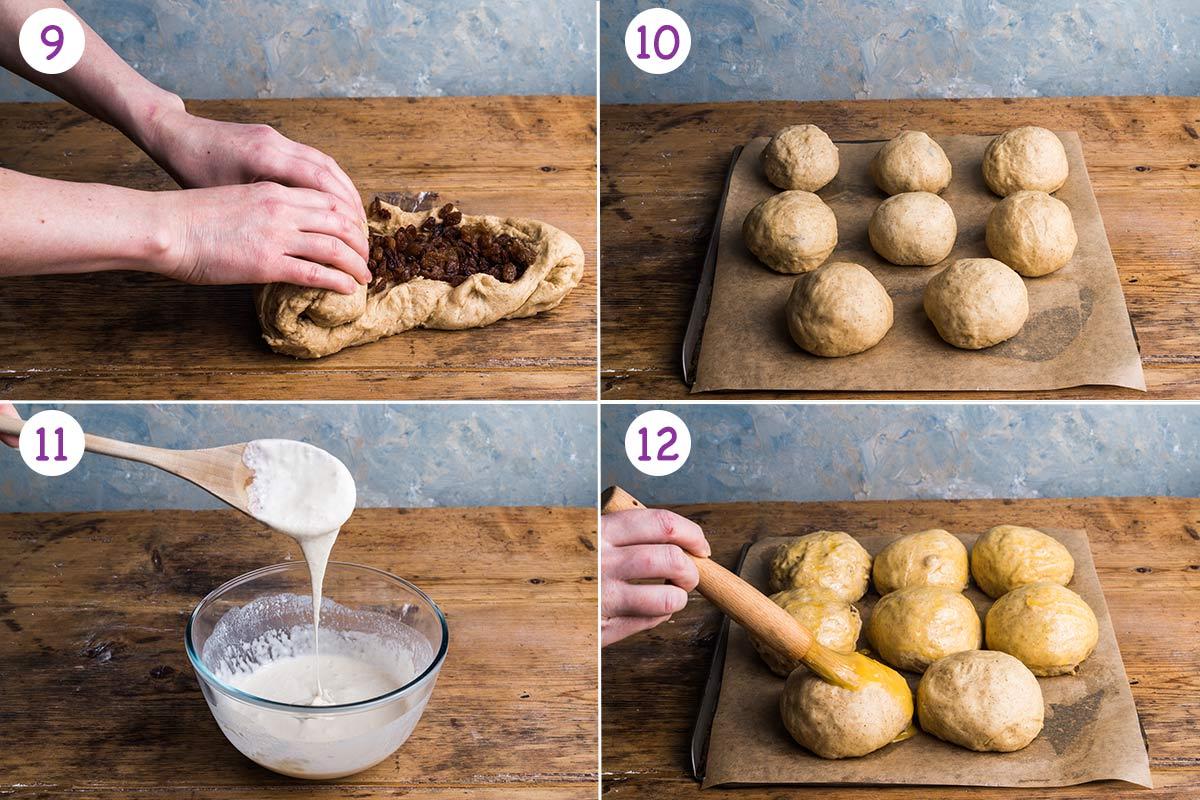 A collage of 4 images showing how to make this recipe step by step for instructions 9-12.