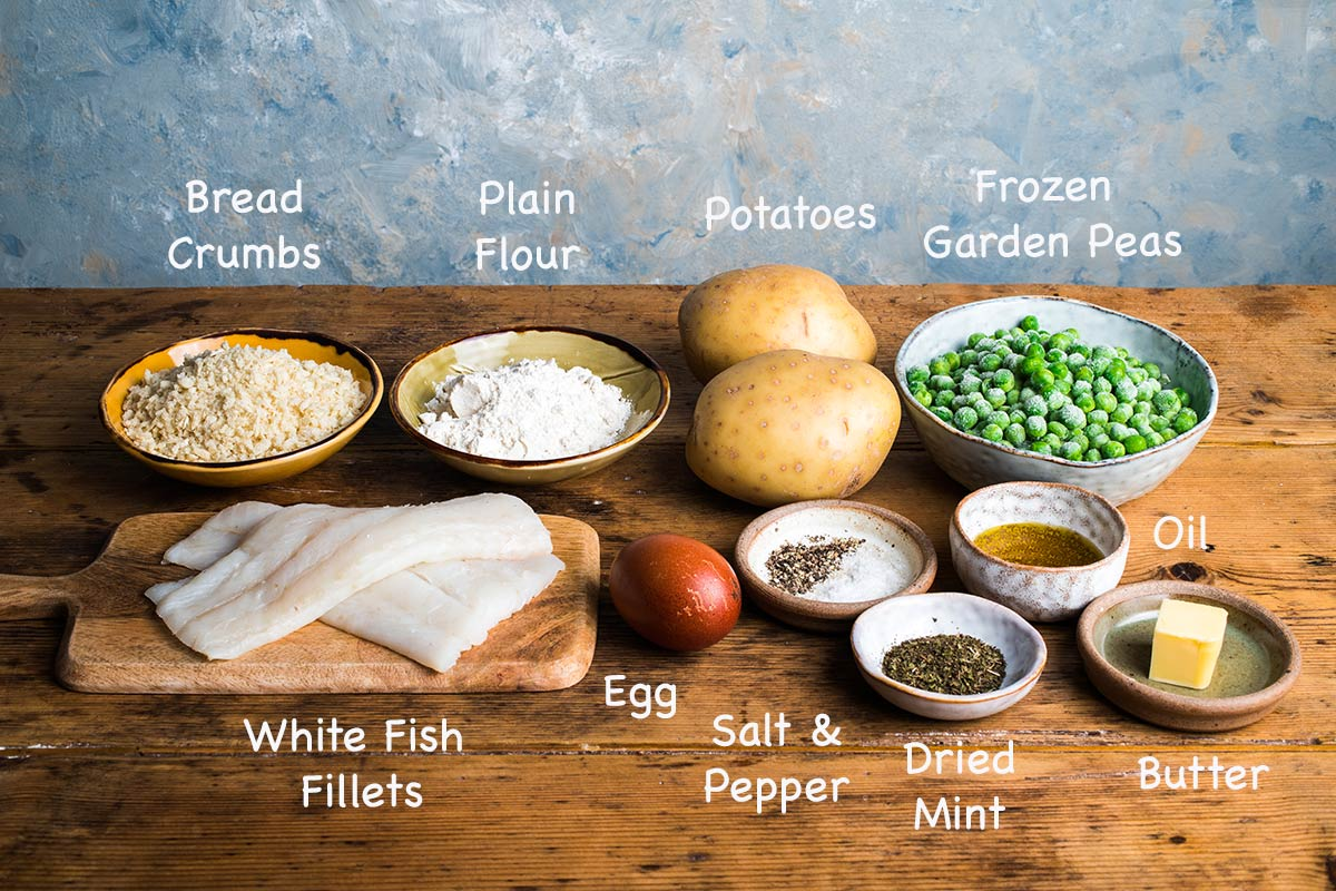 Ingredients needed to make healthy fish and chips.