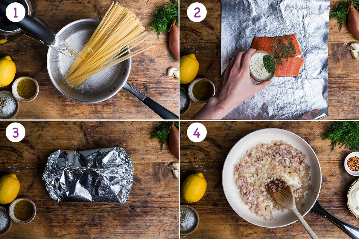 Collage of 4 images showing step by step how to make this recipe for steps 1-4.