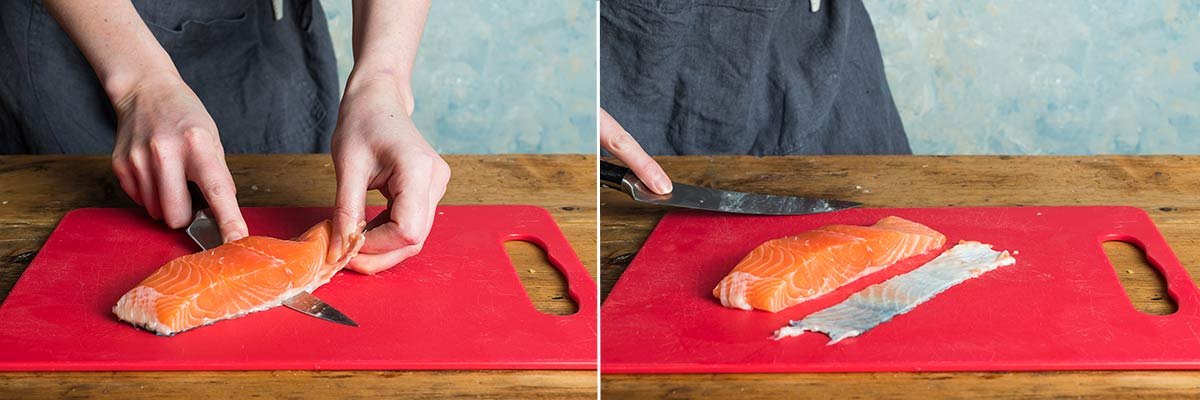 2 images showing how to remove the skin from a fillet of salmon
