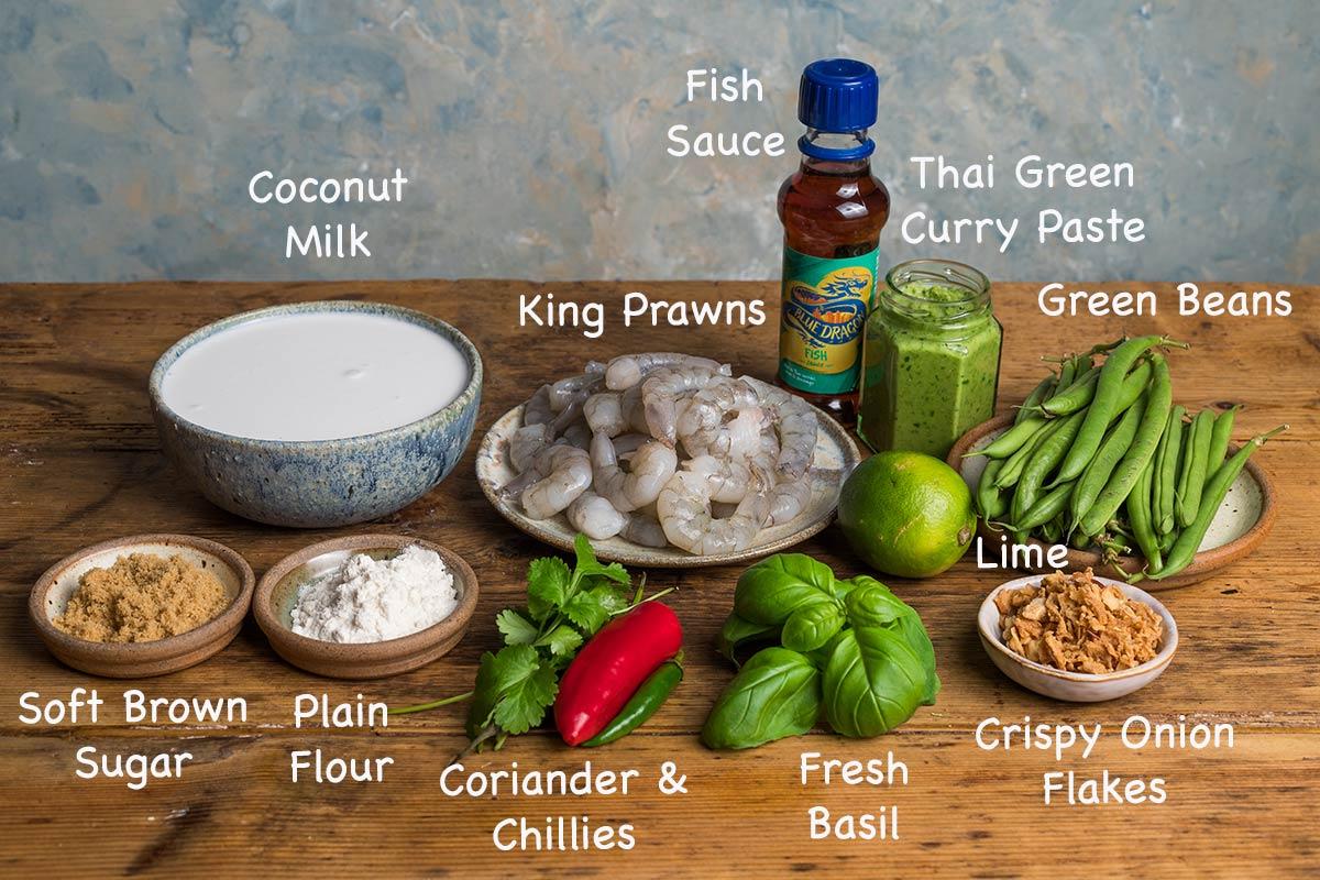 Ingredients for making Thai green prawn curry.