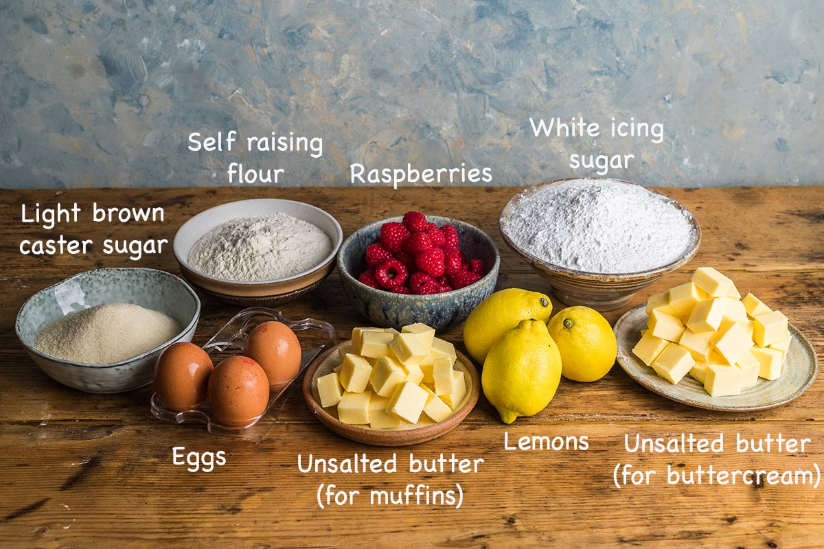Ingredients for making raspberry muffins.
