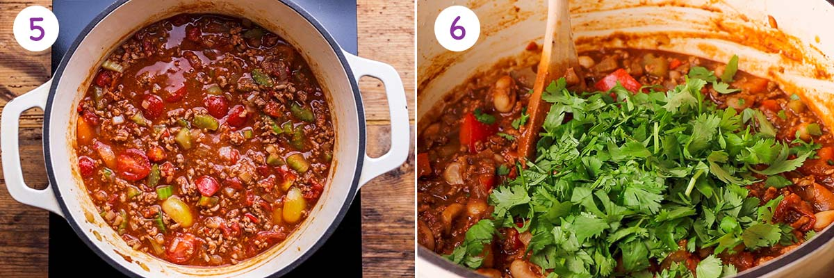 Images of how to make chilli con carne for recipe steps 5 and 6