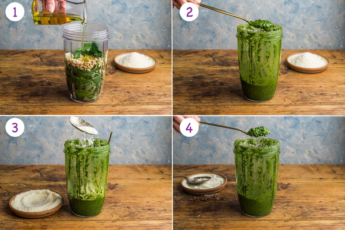Step by step images of how to make homemade basil pesto