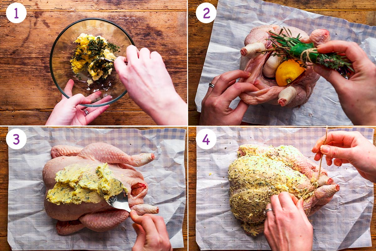 Four images showing how to cook a whole roast chicken steps 1-4.