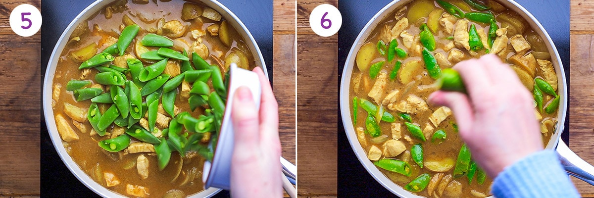 Two images showing how to make massaman curry steps 5 and 6.